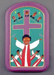 "Folk art painting in bright purple, turquoise, red and whited features five robed gospel singers in front of a cross inscribed ""Gospel Music.""  Five suited men titled ""The Original Blind Boys of Alabama"" form an arc on the top.  Also inscribed are ""Dorothy Love Coats"" and ""Original Gospel Harmonies."""